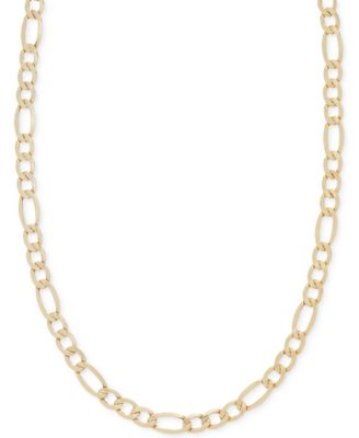 Italian Gold 22 Figaro Chain Necklace in 14k Gold Necklaces
