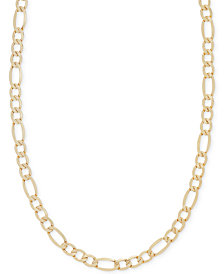 "Italian Gold 22"" Figaro Chain Necklace in 14k Gold"