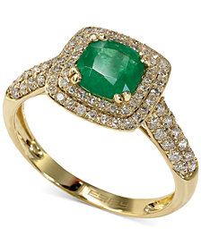 Emerald Envy by EFFY Emerald (7/8 ct. t.w.) and Diamond (1/2 ct. t.w.) Cushion Ring in 14k Gold