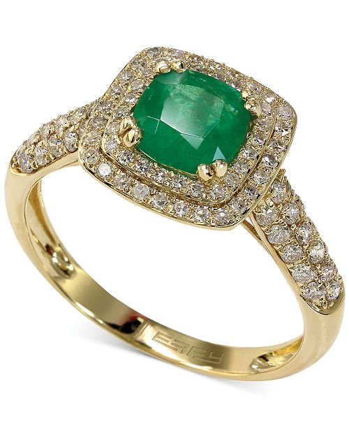 EFFY Collection Emerald Envy by EFFY Emerald (7/8 ct. t.w.) and Diamond (1/2 ct. t.w.) Cushion Ring in 14k Gold