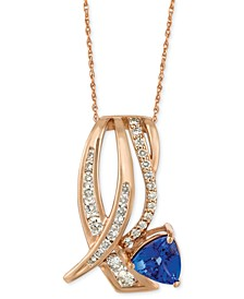 """Tanzanite (1 ct. t.w.) and Diamond (5/8 ct. t.w.) 18"""" Pendant Necklace in 14k Rose Gold"""