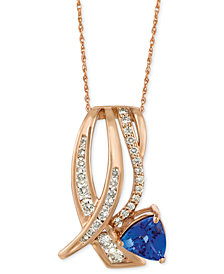 "Le Vian Tanzanite (1 ct. t.w.) and Diamond (5/8 ct. t.w.) 18"" Pendant Necklace in 14k Rose Gold"
