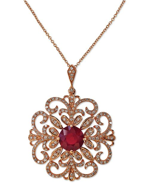 EFFY Collection Rosa by EFFY® Ruby (2-5/8 ct. t.w.) and Diamond (5/8 ct. t.w.) Pendant Necklace in 14k Rose Gold