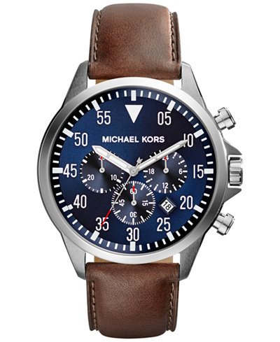 michael kors men 39 s chronograph gage brown leather strap watch 45mm mk8362 watches jewelry. Black Bedroom Furniture Sets. Home Design Ideas
