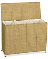 Household Essentials Seagrass Laundry Triple Sorter with Removable Liners