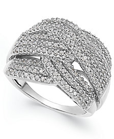 Diamond Wave Ring in 10k White Gold (1 ct. t.w.)