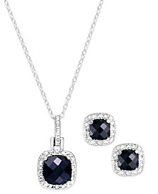 "Sapphire (3 ct. t.w.) & Diamond Accent Sterling Silver 18"" Pendant Necklace and Stud Earrings (Also in Blue Topaz)"