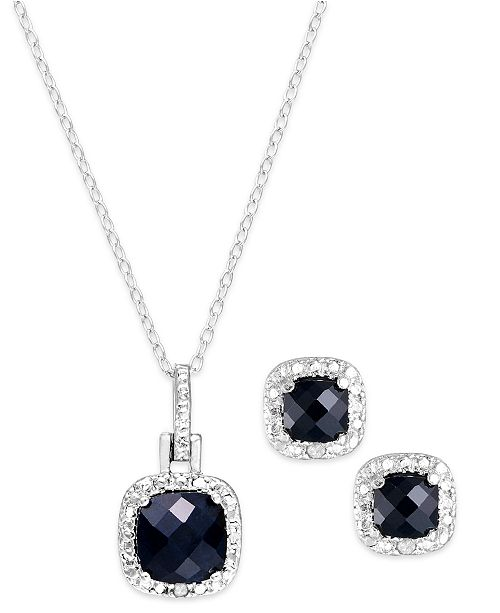 "Macy's Sapphire (3 ct. t.w.) & Diamond Accent Sterling Silver 18"" Pendant Necklace and Stud Earrings Set (Also in Blue Topaz & Amethyst)"