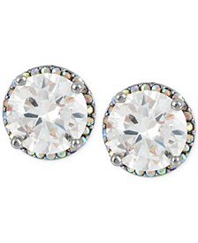 Silver-Tone Crystal Round Stud Earrings