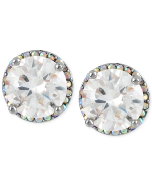 Betsey Johnson Silver-Tone Crystal Round Stud Earrings