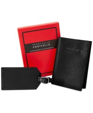 Perry Ellis Portfolio Passport Case and Luggage Tag Gift-Boxed Set