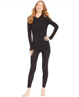 cuddl duds activelayer long sleeve vneck top and leggings