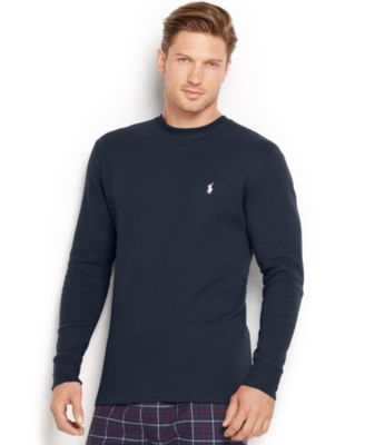 Image of Polo Ralph Lauren Men's Solid Waffle-Knit Crew-Neck Thermal Top