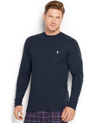 Polo Ralph Lauren Men's Solid Waffle-Knit Crew-Neck Thermal Top