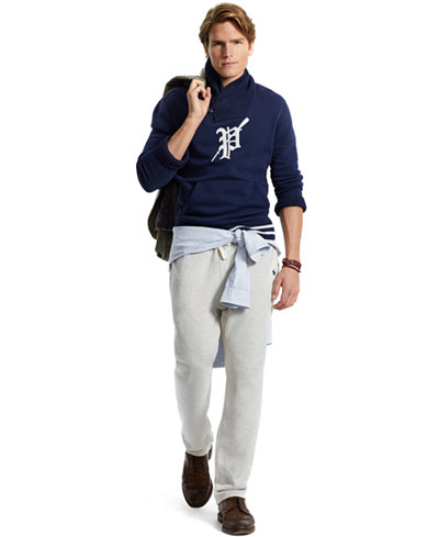 Polo Ralph Lauren Men's Varsity Shawl Pullover, Classic-Fit Oxford Shirt & Fleece Drawstring Pants