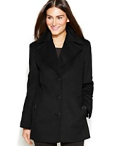 f2bfa925f53 Calvin Klein Petite Wool-Cashmere-Blend Single-Breasted Peacoat