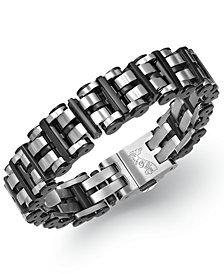 Men's Black Hardware Link Bracelet in Stainless Steel