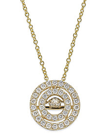 Twinkling Diamond Star™ Diamond Double Circle Pendant Necklace in 14k White or Yellow Gold (3/8 ct. t.w.)