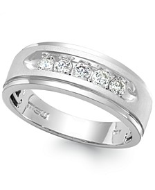 Men's Five-Stone Diamond Ring in 10k White Gold (1/2 ct. t.w.)