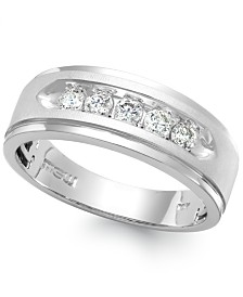 Men's Five-Stone Diamond Ring in 10k White Gold (1/2 ct. t.w.)