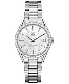 TAG Heuer Women's Swiss Carrera Diamond (2/3 ct. t.w.) Stainless Steel Bracelet Watch 32mm WAR1315.BA0773