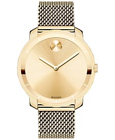 Movado Unisex Swiss Bold Gold Ion-Plated Stainless Steel Mesh Bracelet Watch 36mm 3600242