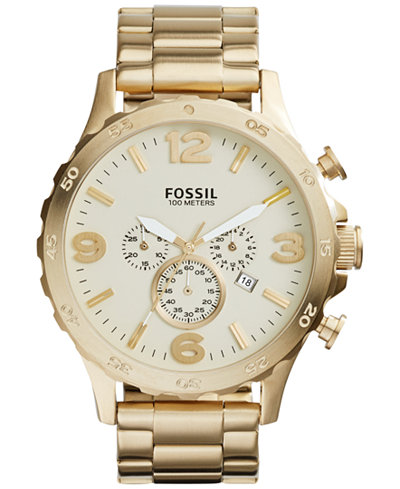 fossil fossil macy s fossil men s chronograph nate gold tone stainless steel bracelet watch 50mm jr1479
