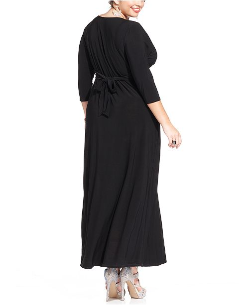 Love Squared Plus Size Three Quarter Sleeve Knotted Maxi Dress