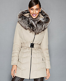 The Fur Vault Fox-Fur-Trim Belted Quilted Puffer Parka