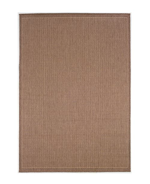 "Couristan CLOSEOUT! Recife Saddle Stitch Cocoa/Natural 2'3"" x 11'9"" Indoor/Outdoor Runner"