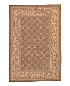 "CLOSEOUT! Couristan Area Rug, Recife Indoor/Outdoor Cubic Garden Lattice/Natural-Cocoa 1016/3000 5'3"" x 7'6"""