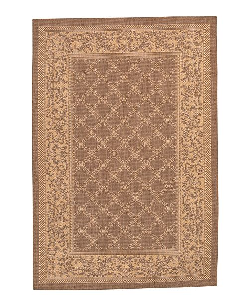"Couristan CLOSEOUT! Recife Cubic Garden Lattice Natural/Cocoa 3'9"" x 5'5"" Indoor/Outdoor Area Rug"