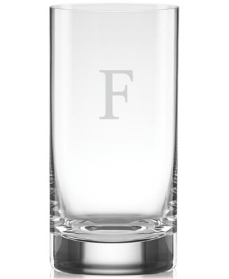 Tuscany Monogram Barware Block Letter Highball Glasses, Set Of 4