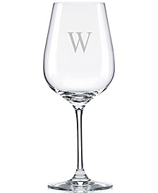 Tuscany Monogram Stemware, Set of 4 Block Letter Pinot Grigio Wine Glasses