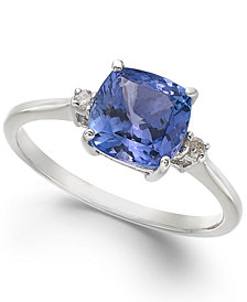 14k White Gold Ring, Tanzanite (1-5/8 ct. t.w.) and Diamond Accent Cushion Ring