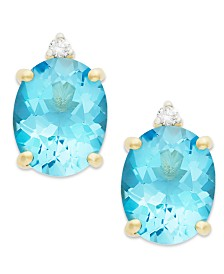 Blue Topaz (6-1/2 ct. t.w.) and Diamond Accent Stud Earrings in 14k Gold
