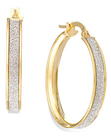 Italian Gold Glitter Hoop Earrings in 14k Gold (20mm)