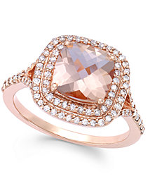 Blush by EFFY Morganite (1 7/10 ct. t.w.) and Diamond (3/8 ct. t.w.) Ring in 14k Rose Gold