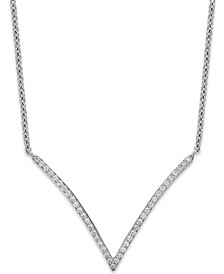 Diamond V-Necklace in 10k White Gold (1/6 ct. t.w.)
