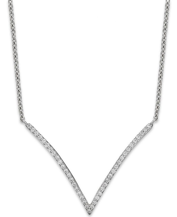 Wrapped - Diamond V-Necklace in 10k White Gold (1/6 ct. t.w.)
