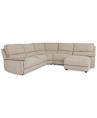Cody fabric 5 piece chaise sectional sofa with 1 power for Cody fabric 6 piece chaise sectional sofa with 1 power recliner