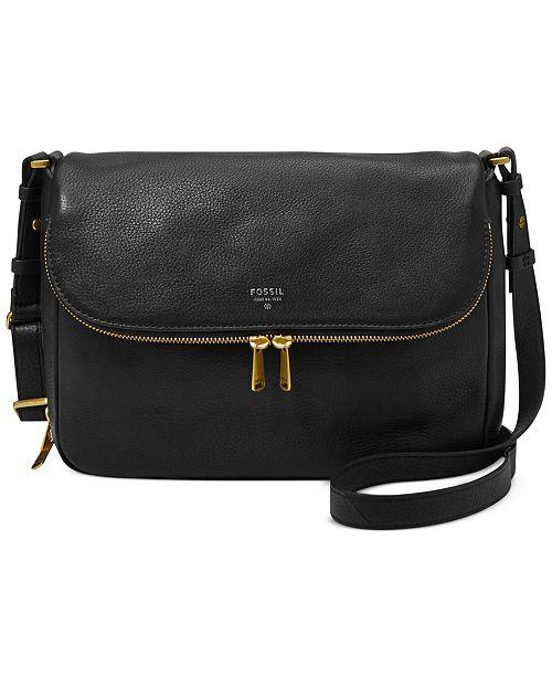 4ecfef175 Fossil Preston Leather Flap Shoulder Bag & Reviews - Handbags ...