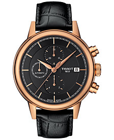 Tissot Men's Swiss Automatic Chronograph Carson Black Leather Strap Watch 42mm T0854273606100