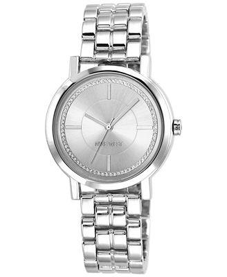 Nine West Women's Silver-Tone Adjustable Bracelet Watch 38mm NW/1643SVSB