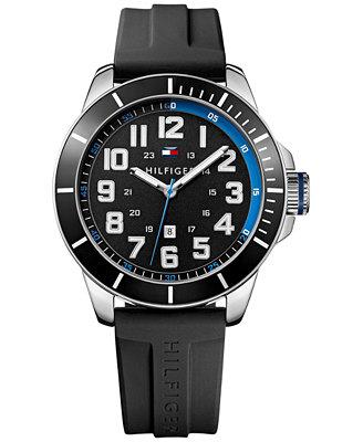 Tommy Hilfiger Men S Black Silicone Strap Watch 48mm