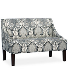 Glendale Latika Fabric Swoop Arm Settee, Quick Ship