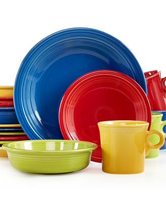 Fiesta Mixed Bright Colors 16 Piece Set Service For 4