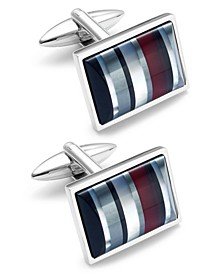 Sutton by Men's Stainless Steel Striped Cuff Links