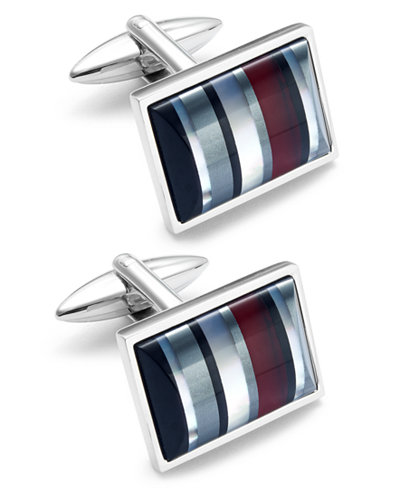 Sutton by Rhona Sutton Men's Stainless Steel Striped Cuff Links