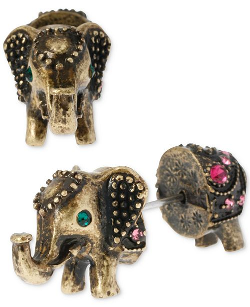 Betsey Johnson Brass-Tone Elephant Front-Back Stud Earrings